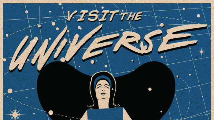 Poster of a woman siting in a space-age chair with starry background.  Text: Visit the Universe from your Armchair!