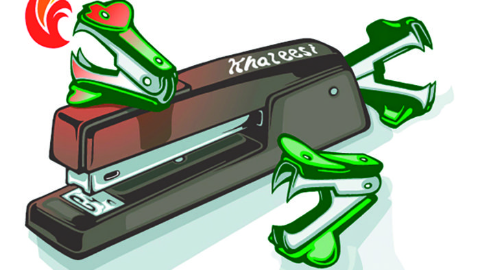 The fearsome stapler Khaleesi, guarded by fire-breathing staple removers