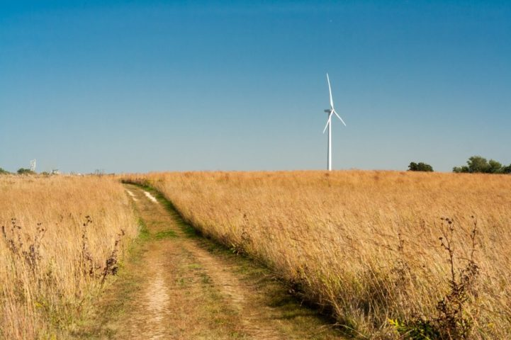 One of Carleton's wind turbines spins over dry fall prairie grasses