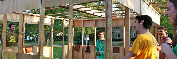 Students erect a sukkah on the Balld Spot for the Jewish festival of Sukkot