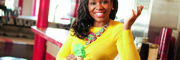 Maya Warren '07 holds an ice cream cone